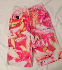 Vtg 90s All Over Print Tribal Surf Tie Dye Jean Shorts 28 W Neon Raver jnco