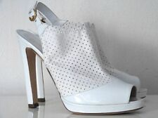 SERGIO ROSSI PLATEAU-HIGH HEELS PEEP-TOES LACK/WEISS GR:39,5 NEU!