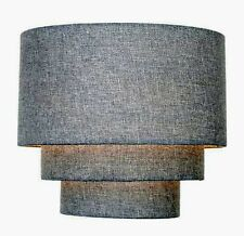 GREY Ceiling Shade LIGHTSHADE 28cm Diameter Linen Tiered Three Tier NEW