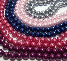 MIXED GLASS PEARL BEADS~125-PINK-BLUE-GREY-PLUM COLORS 10MM ROUND FREE SHIP USA