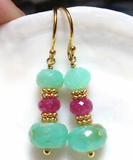SHIMMERING 24K VERMEIL PERUVIAN AQUA BLUE OPAL AFRICAN RED RUBY EARRINGS