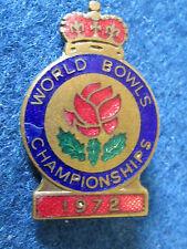 Vintage Bowling Enamel Badge - World Bowls Championship 1972