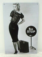Plaque murale métal Marilyn Monroe arrêt de bus stop decoration retro pinup