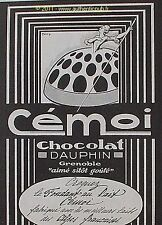 PUBLICITE CHOCOLAT DAUPHIN CEMOI MARQUISE GRENOBLE SIGNE FARCY DE 1923 FRENCH AD