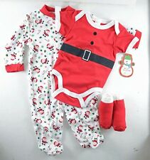 BABY Newborn 3 PC CHRISTMAS gift  0-3M Shoes Footed Pj Onesis Santa Red boy girl