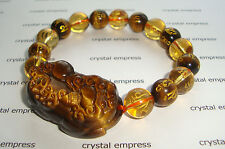 Feng Shui - 2015 Tiger Eye Pi Yao with Citrine & Tiger Eye Mantra Bracelet 10mm