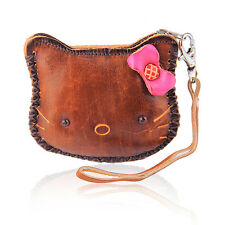 Carino Marrone LUCKY KITTY coin leather purse wallet Handbag Charm Portachiavi lw3
