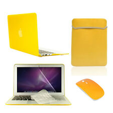 "5 in 1 Rubberized YELLOW Case for Macbook Air 11"" + Key Cover + LCD +Bag+ Mouse"