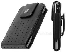 Leather VERTICAL Case Pouch for Apple iPhone 5S & SE ~Black + Holster Belt Clip