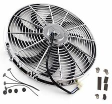 "16"" Inch Chrome Electric Cooling Radiator Fan Curved Hot Rod With Mount Kit"