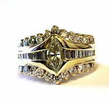 14k yellow gold marquise diamond 1.65cttw engagement ring estate vintage 10.6g