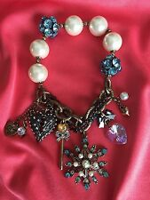 Betsey Johnson Snow Angel Winter Snowflake Fairy Wand Wing Pearl Blue Bracelet