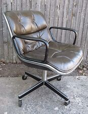 Vintage Mid-Century Charles Pollock Knoll Leather Executive Swivel Office Chair