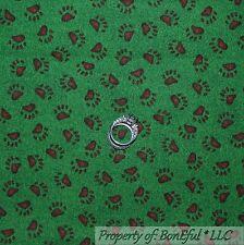 BonEful Fabric FQ Cotton Quilt Green Boyds Bear Paw Print Cabin Camp Boy Scout S