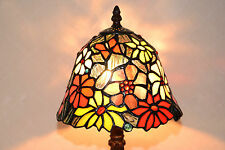 """8""""W Zinc Base Butterfly Flowers Tiffany Style Stained Glass Jeweled Table Lamp"""