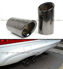 TITANIUM BLACK CHROME SLIP-ON STEEL MUFFLER EXHAUST TIPS FOR 2009-2015 AUDI A4