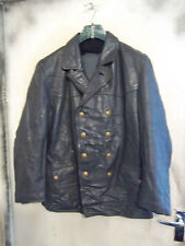 VINTAGE POST WW2 GERMAN LEATHER POLICE OFFICERS JACKET SIZE L PEA COAT