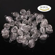 50 Pcs 20x25mm Silver Plated Spiral Bead Cage Charms Pendants, Fits Beads To