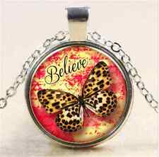 Vintage Butterfly Cabochon Tibetan silver Glass Chain Pendant Necklace NEW G2