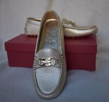 Salvatore Ferragamo Saba Loafer 11 B Driving Moccasin Gancini bit Gold Leather