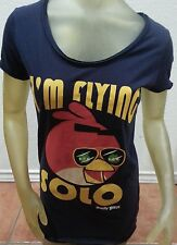 "Angry Birds I'm Flying Solo Womens Vintage Washed Blue T shirt Large 37"" chest"