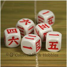 NEW 6 Japanese KANJI Numbers Dice Set D&D RPG 6 Sided Koplow Language D6