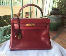 VINTAGE HERMES KELLY Burgundy Oxblood 28cm BAG HANDBAG GOLD AUTHENTIC Box Rouge