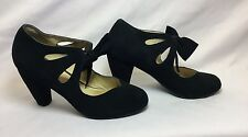 Office Ladies Black Suede Vintage Bow Block Heel Mary Jane Shoes Size 5/38