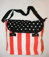 New Old Glory American Flag Stars & Stripes on Black Canvas Messenger Bag gift