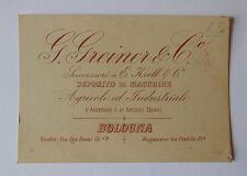 63) G. Greiner & C. Deposito di Macchine Agricole ed Industriali - Bologna -