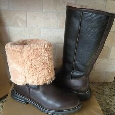 UGG Brooks Tall Brown Leather Fully Shearling Lined Boots US 8 Womens 5490