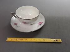 1ancienne Tasse à café sous-tasse porcelaine blanche, contour argent