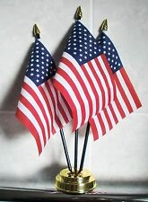 USA TABLE FLAG SET 3 flags plus GOLDEN BASE UNITED STATES OF AMERICA AMERICAN