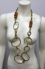 ASHLEY PITTMAN NECKLACE NWT $585 LARGE HORN RINGS WOOD DISCS BRASS METAL 41""
