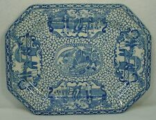 ADAMS china CHINESE BIRD blue 3 men OVAL MEAT Serving PLATTER 12""