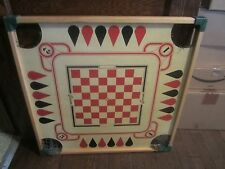 Vintage Merdel 1960's Large Wood Carrom Checkers Game Board Country Primitive