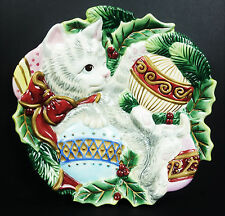 Fitz & Floyd Christmas Cat Kitty Rose Canape Plate Wall Decor in Box Holiday 9""
