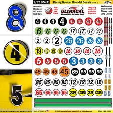 1/32 Slot Car Model Waterslide Decals IMPROVEMENT Number & Roundels #1 PRECUT