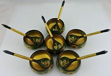 VINTAGE HAND PAINTED RUSSIAN KHOKHLOMA SET 12 PC SMALL BOWL & SPOON WOOD GREEN
