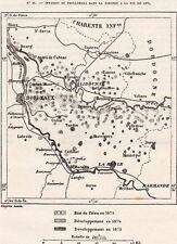 IMAGE 1877 PRINT CARTE MAP 33 BORDEAUX INVASION PHYLOXERA EN GIRONDE FIN DE 1875