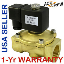 1 inch 24V DC VDC Brass Solenoid Valve NPT Gas Water Air ONE-YEAR WARRANTY