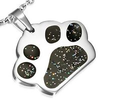 Dog Black Glitter Paw Print 316 tainless Steel Metal Pendant Necklace