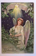 """""""Weihnachten, Engel, Stern, Tannen"""" 1908, Prägekarte ♥ (38448)"""