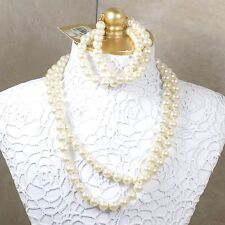 Vintage Simulated Pearl Costume Jewelry Necklace & Bracelet Belk's Made In Japan