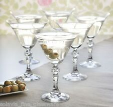 Set of 6 Vintage Style Martini Cocktail Glasses 170ml glass bevelled