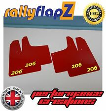 Parafanghi stile Rally PEUGEOT 206 (3mm PVC) rallyflapZ Rosso Logo Giallo