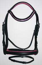 NEW COB English Dressage Show Bridle Bright Pink U Shape Crystal Bling Browband
