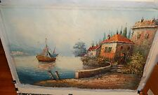 BERNARD LARGE SEASCAPE BOATS AT DOCK OIL ON CANVAS PAINTING