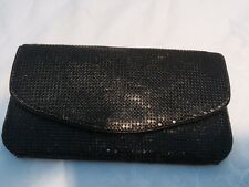 Whiting & Davis Black Mesh Clutch Wallet Vintage