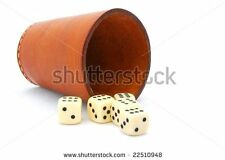 """Yacht Dice Game"" Leather Dice Cup with Five Dice"